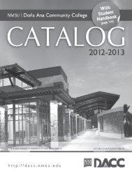 Catalog 2012-2013 - Dona Ana Community College - New Mexico ...