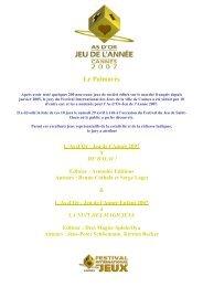 LE PALMARES 2007 - Festival International des Jeux