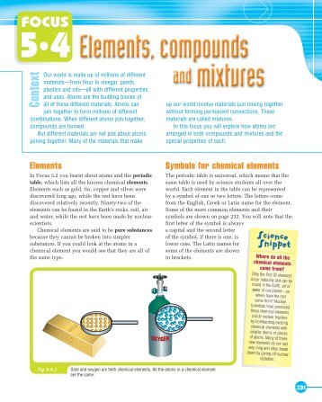 Science Aspects 1 - Focus 5.4 - Elements, Compounds and Mixtures