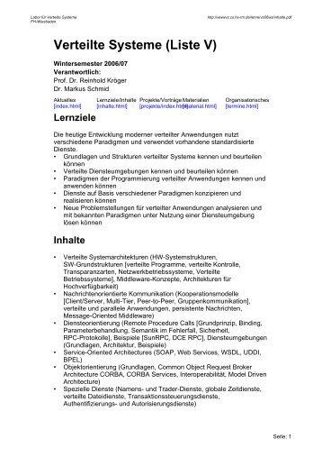 Verteilte Systeme (Liste V) - Labor für Verteilte Systeme