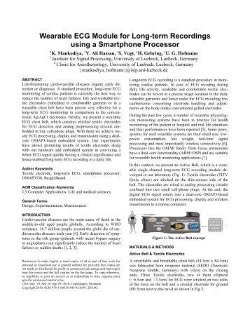 Wearable ECG Module for Long-term Recordings using ... - Create-Net
