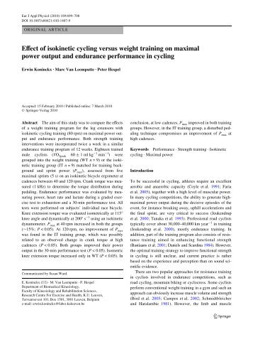 Effect of isokinetic cycling versus weight training on maximal power output and endurance performance in cycling