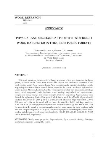 Physical and mechanical properties of beech