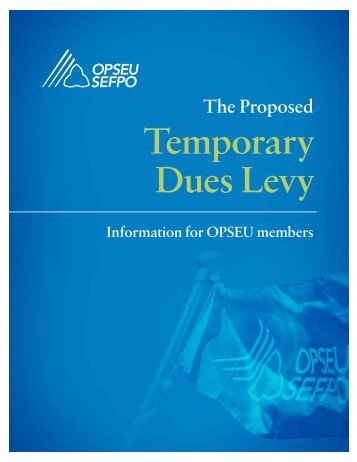 Temporary Dues Levy - OPSEU