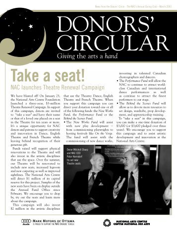 Donors' Circular March 2003 - National Arts Centre