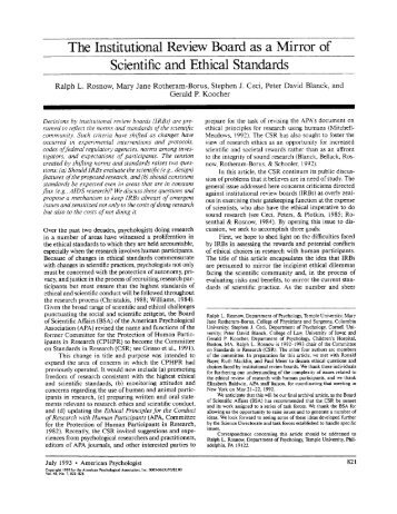 The Institutional Review Board as a Mirror of Scientific and Ethical ...