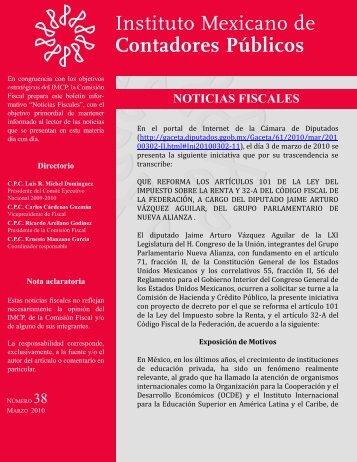 Noticias Fiscales 38 - Instituto Mexicano de Contadores Públicos