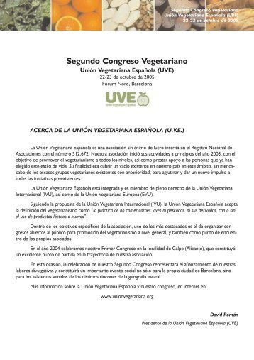 Segundo Congreso Vegetariano - Unión Vegetariana Española