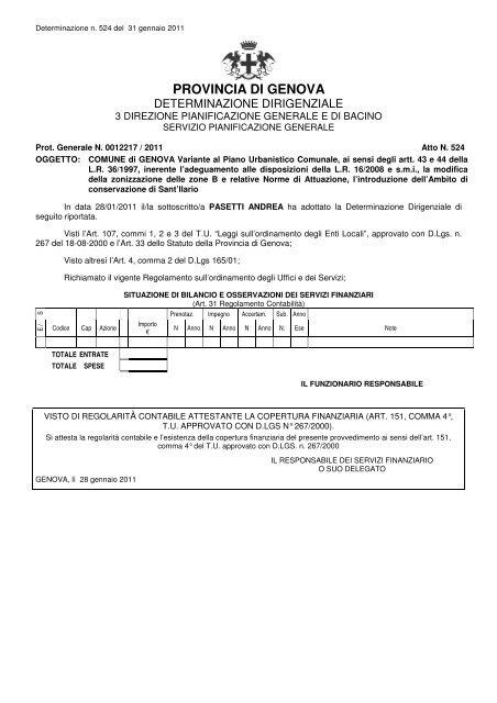 PROVINCIA DI GENOVA - PUC - Comune di Genova