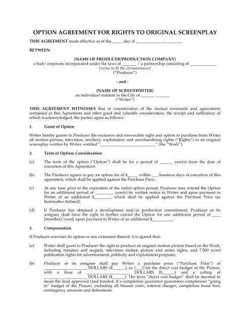 Option Agreement For Rights To Original Screenplay Megadox