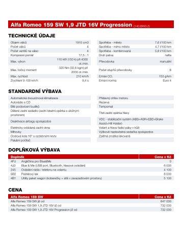 Alfa Romeo 159 SW 1,9 JTD 16V Progression (140.BW3.2)