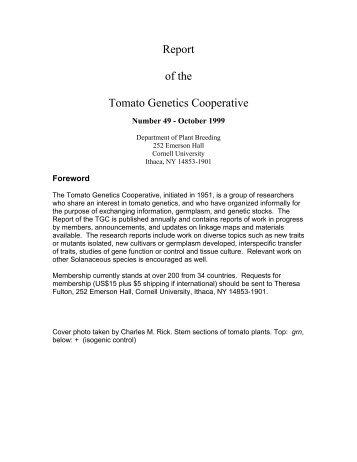 Volume 49 - Tomato Genetics Cooperative - University of Florida