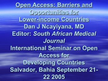 Open Access: Barriers and Opportunities for Lower-income Countr