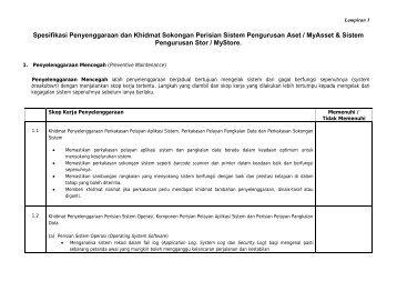 Spesifikasi Penyenggaraan dan Khidmat Sokongan Perisian Sistem ...