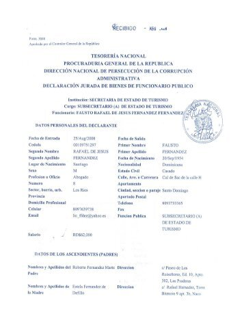 DECLARACION JURADA FAUSTO FERNANDEZ
