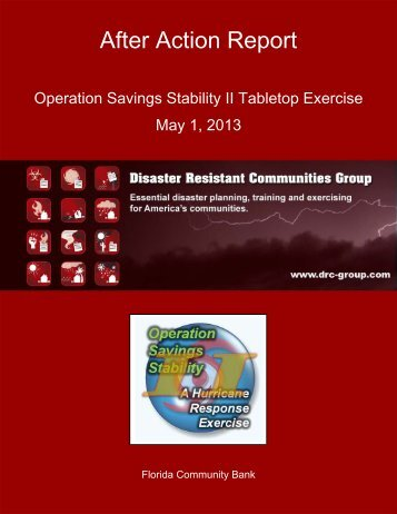 After Action Report - Disaster Resistant Communities Group