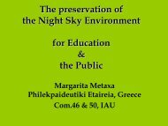 The preservation of the Night Sky Environment ... - Starlight Initiative