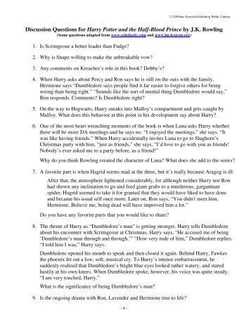 Discussion Questions For Harry Potter And The Half Blood Prince By