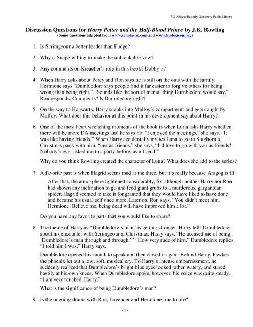 Discussion Questions for Harry Potter and the Half-Blood