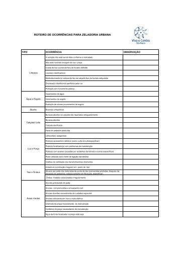Roteiro zeladoria - Viva o Centro