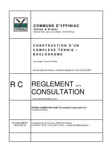 R C  REGLEMENT de la CONSULTATION - Ville d'Yffiniac