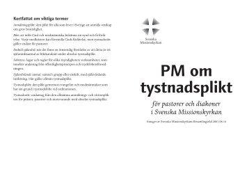PM om tystnadsplikt - Svenska Missionskyrkan