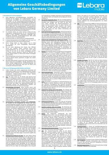 Allgemeine Geschäftsbedingungen von Lebara Germany Limited