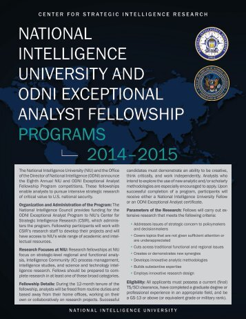 CENTER FOR STRATEGIC INTELLIGENCE RESEARCH ...