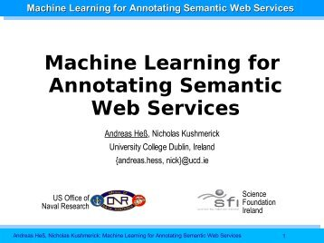 Machine Learning for Annotating Semantic Web ... - Andreas Hess