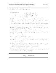 Mathematics Department Qualifying Exam : Algebra Spring 2012 ...