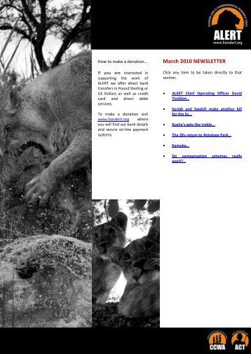 March 2010 NEWSLETTER - African Lion & Environmental ...