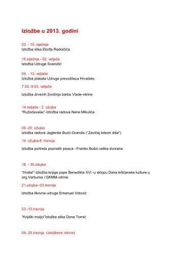 Popis izložbi u 2013 (.pdf,47kb)