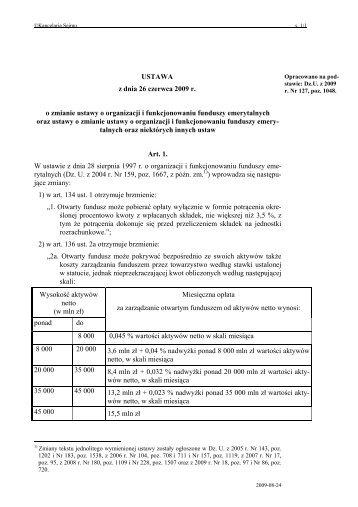 USTAWA z dnia 26 czerwca 2009 r. o zmianie ustawy o organizacji i ...