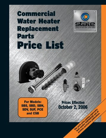 State Commercial Parts Price List - State Water Heaters