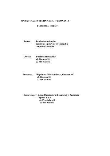 Specyfikacja wykonania i odbioru robót - Zakład Gospodarki ...