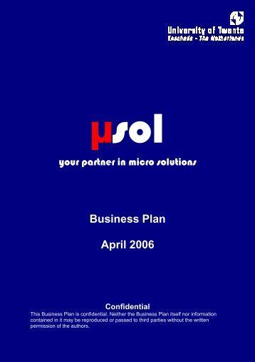 Business Plan April 2006 Confidential