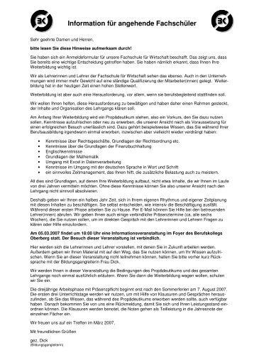 Information für angehende Fachschüler - Schulen in der Region ...