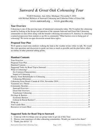 Sunward & Great Oak Cohousing Tour - Sunward Cohousing