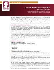 Lincoln Small Accounts IRA Automatic rollovers - Lincoln Financial ...