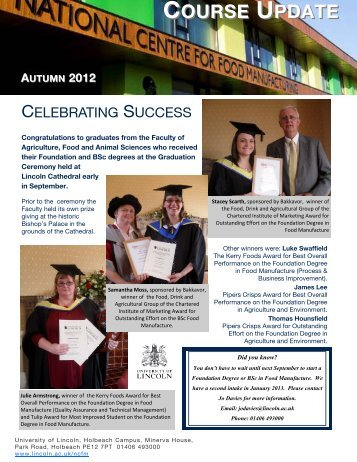 Autumn Course Update (PDF) - University of Lincoln