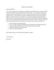 English III Summer Reading Dear Junior Students, Your ... - Pantego