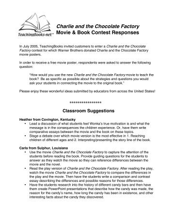 william and mary navigator charlie and the chocolate factory charlie and the chocolate factory movie book contest responses