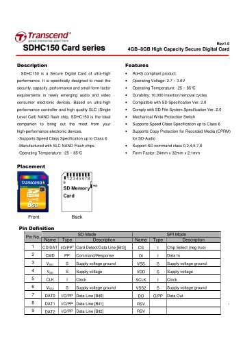 SDHC150 Card series - Transcend Info