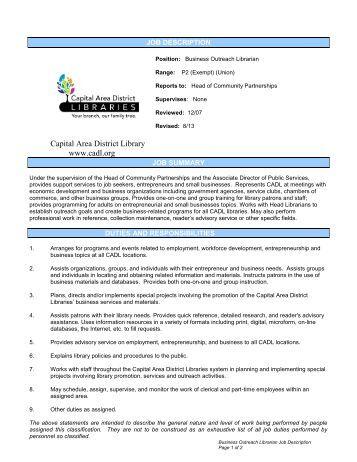 job description capital area district libraries job description for library assistant