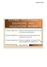 SOLVING POLYNOMIAL EQUATIONS AND INEQUATIONS REVIEW