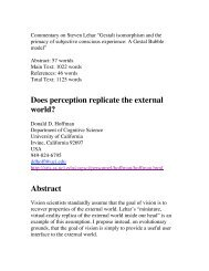 Does perception replicate the external world? - UCI Cognitive ...