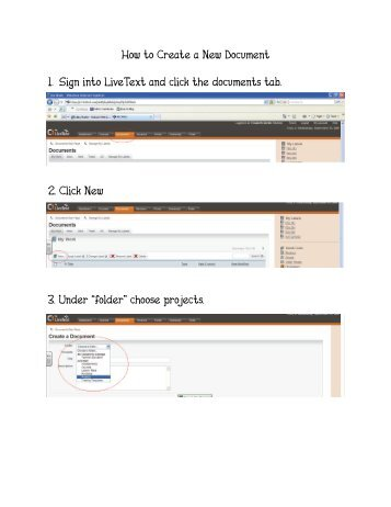How to Create a New Document 1. Sign into LiveText and click the ...