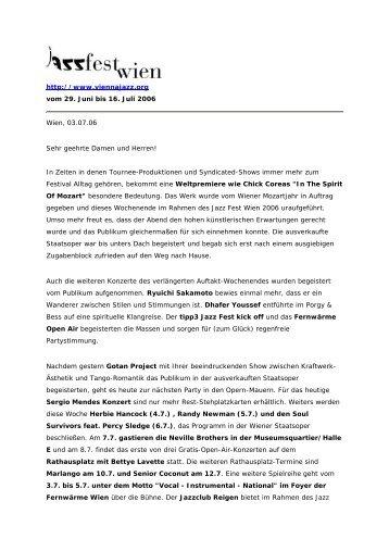 http://www.viennajazz.org vom 29. Juni bis 16. Juli 2006 Wien, 03.07 ...