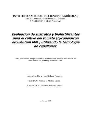 Evaluación de sustratos y biofertilizantes para el cultivo del tomate