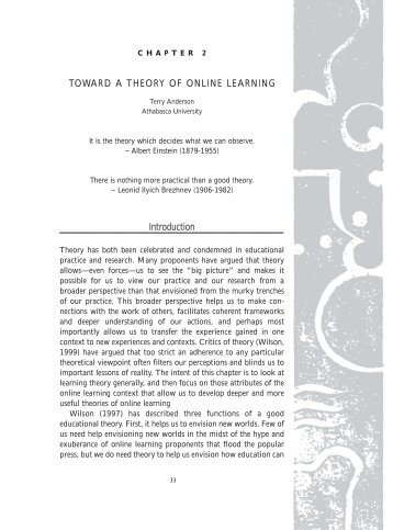 Toward a Theory of Online Learning - Centre for Distance Education ...